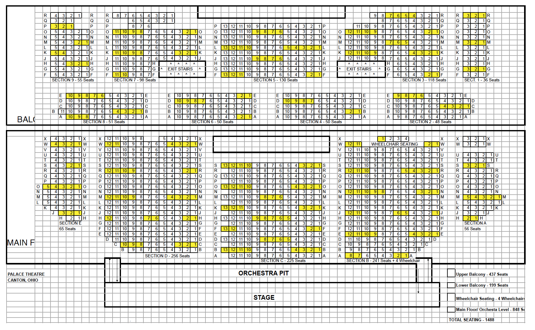 Canton Palace Theatre COVID-19 Seating Chart